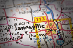 Janesville, Wisconsin auf Karte Lizenzfreies Stockfoto