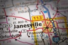 Janesville, Wisconsin sulla mappa fotografia stock libera da diritti