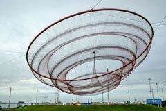 Janet Echelman`s public network sculpture in roundabout, Matosinhos Stock Images