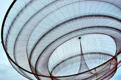 Janet Echelman`s public network sculpture in roundabout, Matosinhos Royalty Free Stock Photography