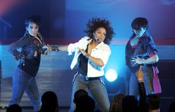 Janet Jackson wykonuje w koncercie fotografia royalty free