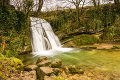 Janets Foss. Gordale Beck flows over Janets Foss waterfall near Malham in the Yorkshire Dales National Park Stock Image
