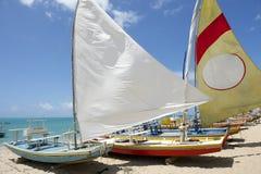 Jangada żaglówek brazylijczyka Tradycyjna plaża Obrazy Royalty Free
