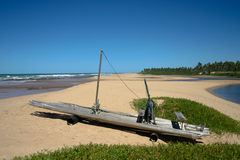 Jangada, brazilian fishin boat, on a beach Stock Photos