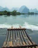 Jangada do rio, da montanha e do bambu Foto de Stock Royalty Free