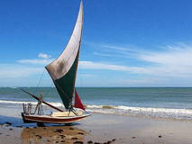 Jangada small sailboat on the beach, Brazil Stock Photography