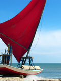 Jangada small sailboat on the beach, Brazil Stock Photo