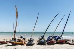 Jangadas of fishermen on the beach Stock Image