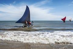 Jangadas, kleine Fischerboote auf dem Meer, Brasilien Lizenzfreies Stockfoto