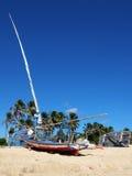 Jangadas small sailboats on the beach, Brazil Royalty Free Stock Image