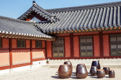 Jangdokdae, Jars and Korean traditional architecture Royalty Free Stock Photo