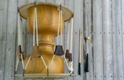 The janggu or janggo Traditional Korean drum with beating Sticks on the wooden table. The janggu or janggo or sometimes called seyogo means slim waist drum is stock photo