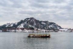 Jangja-Inselbrücke im Winter Lizenzfreie Stockfotos