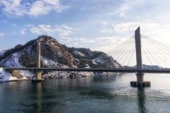 Jangja-Inselbrücke im Winter Stockbild