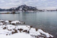 Jangja-Inselbrücke im Winter Lizenzfreies Stockfoto