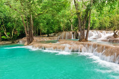 Jangle landscape with amazing turquoise water of Kuang Si cascad Royalty Free Stock Photos