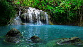 Jangle landscape with Erawan waterfall. Kanchanaburi, Thailand stock video