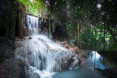 Jangle landscape with Erawan waterfall. Kanchanaburi, Thailand Stock Images