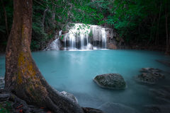 Jangle landscape with Erawan waterfall. Kanchanaburi, Thailand Stock Image