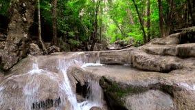 Jangle landscape with Erawan waterfall. Kanchanaburi, Thailand stock video footage