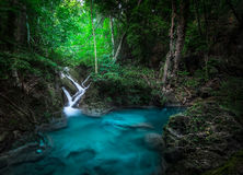 Jangle landscape with Erawan waterfall in tropical forest. Kanchanaburi, Thailand Stock Photos