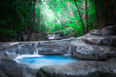 Jangle landscape with Erawan waterfall in tropical forest. Kanchanaburi, Thailand Royalty Free Stock Photos