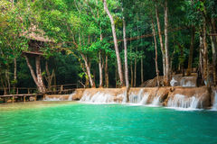 Jangle landscape with turquoise water of Kuang Si waterfall. Laos Stock Image