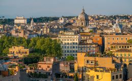 Panorama from the Gianicolo Terrace with the dome of Sant`Andrea della Valle Church in Rome, Italy. stock photos