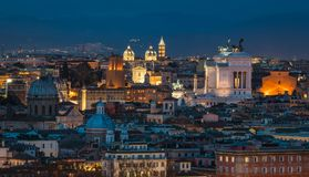 Rome panorama at sunset from the Gianicolo Hill Terrace. The Janiculum is a hill in western Rome, Italy. Although the second-tallest hill in the contemporary Royalty Free Stock Photos