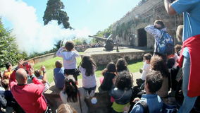 Janiculum noon cannon in Rome, Italy stock video