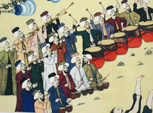 Janissary band performing,  Ottoman painting Royalty Free Stock Photo