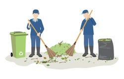Janitor ή οδών καθαριστές που σκουπίζουν τα απορρίματα απεικόνιση αποθεμάτων