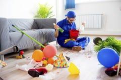 Janitor ο καθαρισμός βρωμίζει Στοκ Εικόνα