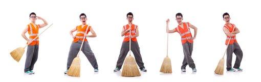 Janitor που απομονώνεται αστείος στο λευκό στοκ φωτογραφία