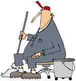 Janitor που παίρνει ένα σπάσιμο απεικόνιση αποθεμάτων