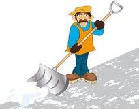 Janitor. Vector illustration shows a man raking snow Royalty Free Stock Photos