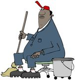 Janitor bierze przerwę od mopping Fotografia Stock