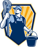 Janitor Cleaner Hold Mop Bucket Shield Retro Stock Image