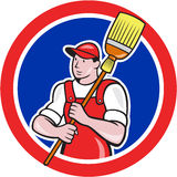 Janitor Cleaner Holding Broom Circle Cartoon Stock Image