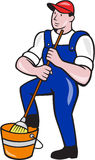 Janitor Cleaner Holding Mop Bucket Cartoon Royalty Free Stock Image