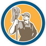 Janitor Cleaner Holding Mop Circle Retro Royalty Free Stock Image