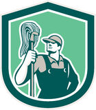 Janitor Cleaner Holding Mop Shield Retro Royalty Free Stock Image
