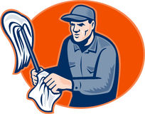 Janitor Cleaner With Mop Wiping Retro Royalty Free Stock Photo