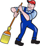Janitor Cleaner Sweeping Broom Cartoon Stock Photo