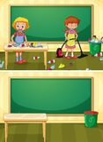 Janitor Cleaning Dirty Classroom royalty free illustration