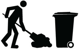 Janitor cleaning and dumping waste into trash bin or garbage bin Royalty Free Stock Photos