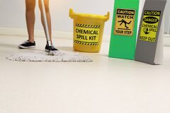 Free Janitor Cleaning Floor In Medical Service Room Or Laboratory With Caution Tag Sign Watch Your Step And Chemical Spill Out. Stock Photo - 182668340