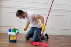 Janitor depriving you from dirt Stock Photos