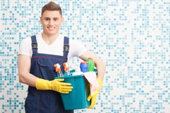 Janitor depriving you from dirt Royalty Free Stock Image