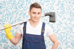 Janitor depriving you from dirt Royalty Free Stock Photography